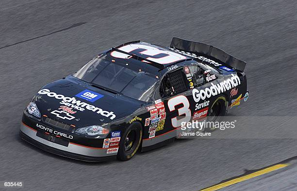 Dale Earnhardt drives the GM Goodwrench Chevrolet during the first Gatorade 125 at the Daytona Speedweeks at Daytona International Speedway in...