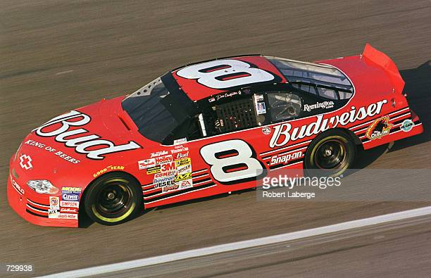 Dale Earnhardt Jr in the Budweiser Chevrolet during practice for the NASCAR Winston Cup DuraLube 400 at the North Carolina Speedway in Rockingham...