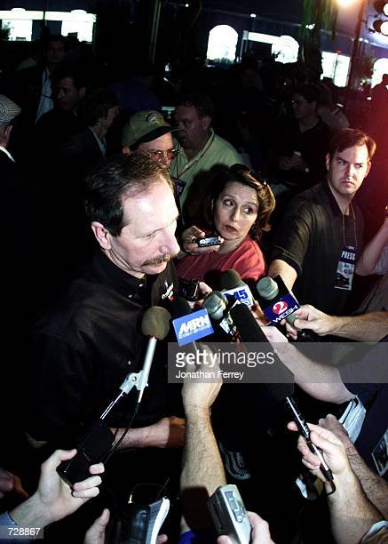 Dale Earnhardt speaks to the media during NASCAR Winston Cup Daytona Speedweeks Media Day at the Daytona International Speedway Daytona Beach Florida...