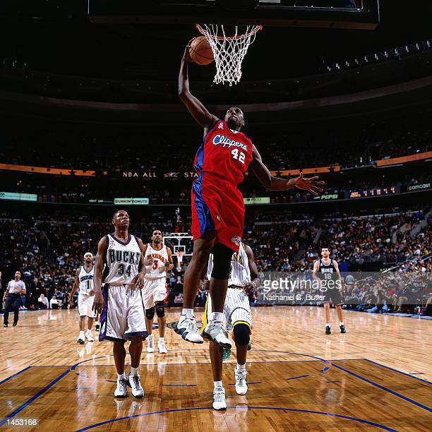Elton Brand of the Los Angeles Clippers drives to the basket for a dunk during the 2002 NBA All Star Game at the First Union Center in Philadelphia...