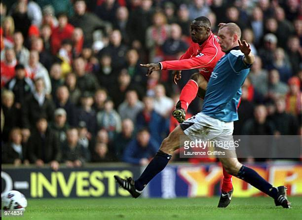 Emile Heskey of Liverpool scores the second goal during the Liverpool v Manchester City AXA FA Cup fifth round match at Anfield Liverpool Mandatory...