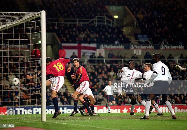 Emile Heskey scores England's second goal during the International Friendly against Spain played at Villa Park in Birmingham England England won the...