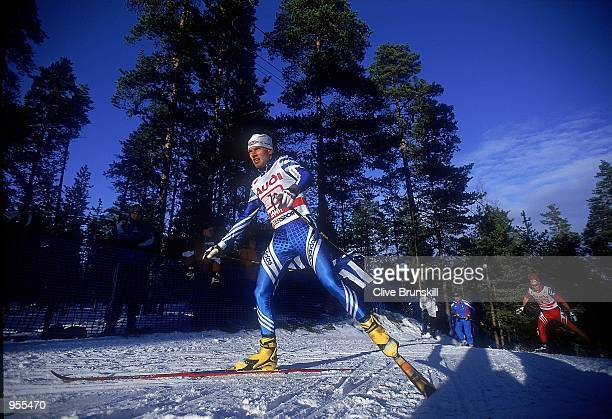 General action from the Nordic combined team 4 x 5 km during day 6 of the FIS Nordic World Ski Championship 2001 held in Lahti, Finland. \ Mandatory...