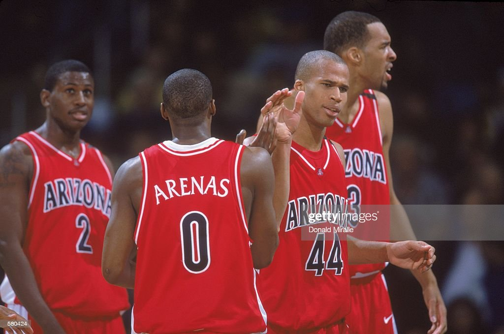 Gilbert Arenas #0, Michael Wright #2, Richard Jefferson #44, Loren Woods #3 : Nieuwsfoto's