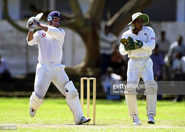 Graham Thorpe of England hits out during the 3rd day of the England v Presidents XI 4 day game at the Matara Sports Ground Matara Sri Lanka Mandatory...