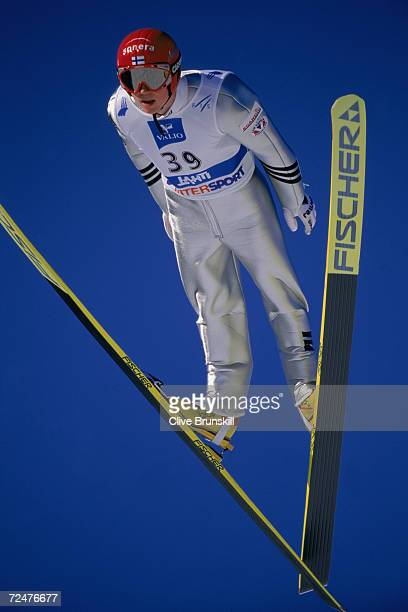 Jaakko Tallus of Finland attempts the jump during the Men's Nordic Combined K15 Ski Jump at the FIS Nordic World Ski Championships in Lahti...