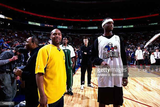 Jamaal Tinsley and Jermaine O''Neal of the Indiana Pacers during practice before the 2002 NBA All Star Game at the First Union Center in Philadelphia...