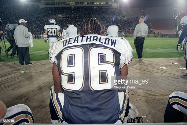 Jamal Deathblow Duff of the Los Angeles Xtreme takes a break during the game against the Chicago Enforcers at the LA Coliseum in Los Angeles...
