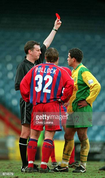 Jamie Pollock and Darel Russell both receive the red card during the Nationwide League Division One match between Crystal Palace and Norwich City...