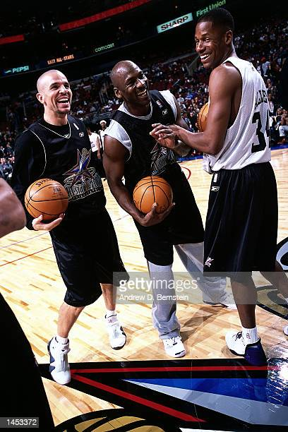 Jason Kidd of the New Jersey Nets Michael Jordan of the Washington Wizards and Ray Allen of the Milwaukee Bucks during practice before the 2002 NBA...