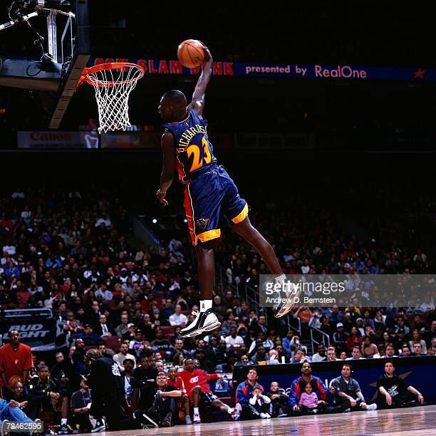 Jason Richardson of the Golden State Warriors goes up for a slam dunk during the 2002 NBA com Slam Dunk presented by Realone during the NBA All Star...