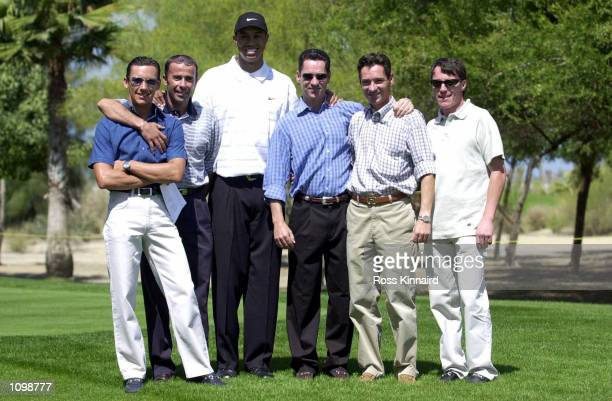 Jockeys Frankie Dettori John Carroll Michael Hills Richard Hills and Kieron Fallon pictured with Tiger Woods during his first practice round at the...