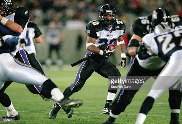 John Avery of the Chicago Enforcers moves with the ball during the game against the Los Angeles Xtreme at the LA Coliseum in Los Angeles California...