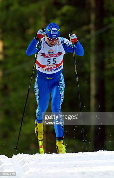 Kaisa Varis of Russia on her way to a third place finish during the Women's 15km Cross Country Skiing event held at Lahti in Finland. Mandatory...