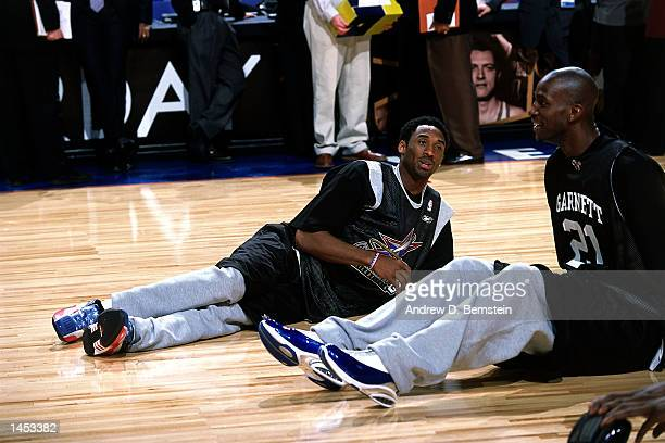 Kobe Bryant of the Los Angeles Lakers and Kevin Garnett of the Minnesota Timberwolves during practice before the 2002 NBA All Star Game at the First...