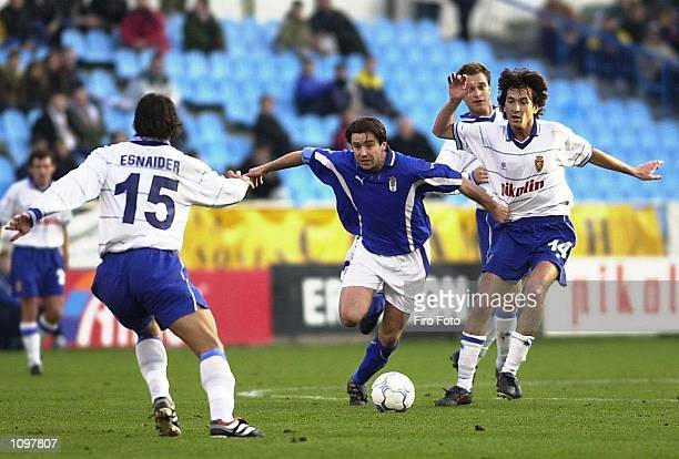 Lanna and Jose Igancio of Real Zaragoza and De tomic of Real Oviedo in action during the Primera Liga game between Real Zaragoza and Real Oviedo, La...