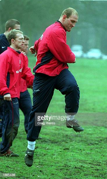 Lawrence Dallaglio of England in action during an England Rugby Union Training Session held at Sandhurst Military Academy in Camberley Surrey...
