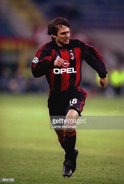 Leonardo of AC Milan in action during the UEFA Champions League Group B match against Paris St Germain played at the San Siro in Milan Italy The...