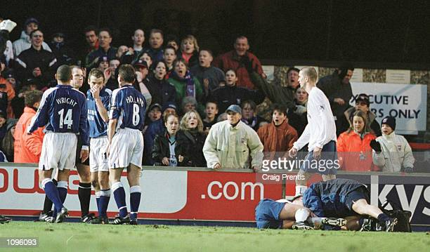 Marcus Stewart of Ipswich is sent off by referee Peter Jones for a foul on Ian Harte of Leeds during the FA Carling Premiership match between Ipswich...