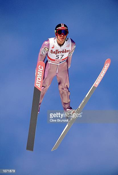 Masahiko Harada of Japan in action in the skijump individual K90 practice session during the FIS Nordic World Ski Championships held in Lahti Finland...