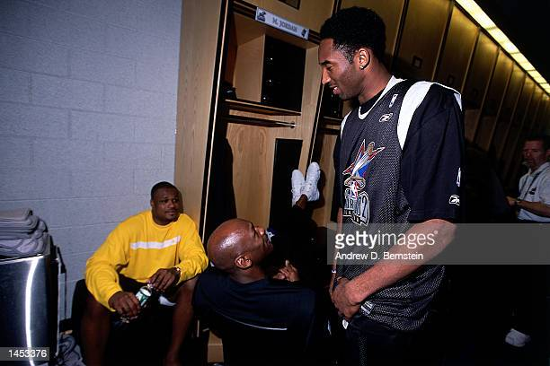 Michael Jordan of the Washington Wizards and Kobe Bryant of the Los Angeles Lakers before the 2002 NBA All Star Game at the First Union Center in...
