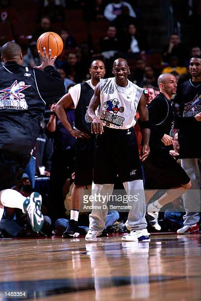 Michael Jordan of the Washington Wizards during practice before the 2002 NBA All Star Game at the First Union Center in Philadelphia Pennsylvania...