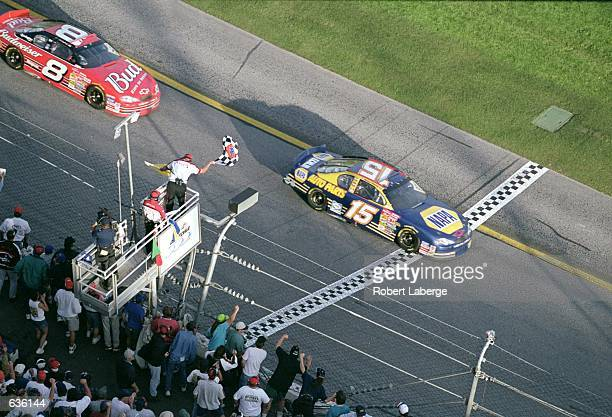 Michael Waltrip who drives a Chevy Monte Carlo for Dale Earnhardt Inc wins the Daytona 500 Speedweeks part of the NASCAR Winston Cup Series at the...