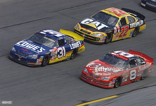 Mike Skinner in the Lowes Chevrolet battles to the finish with Dale Earnhardt Jr in the Budweiser Chevrolet on his way to winning the second Gatorade...