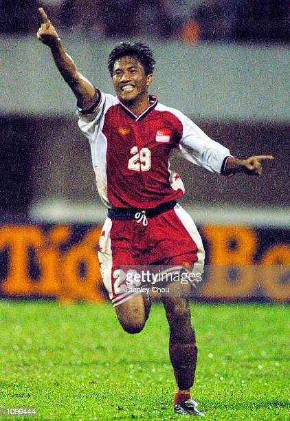 Mohd Noh Alam Shah of Singapore in ecstasy after scoring the late equaliser against Kuwait during the 2002 World Cup Qualifier Asian Zone Group 4 tie...