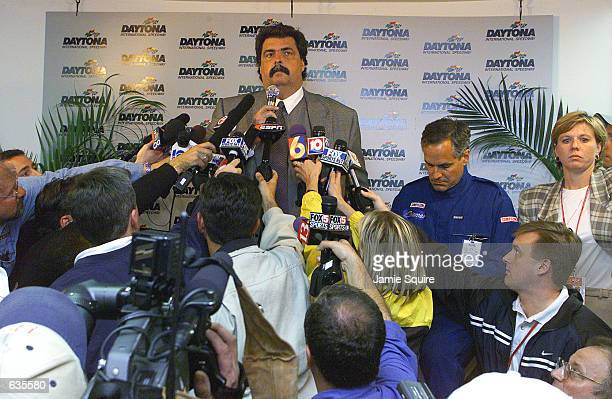 NASCAR President Mike Helton announces the death in a last lap accident of Dale Earnhardt at the NASCAR Winston Cup Daytona 500 at the Daytona...
