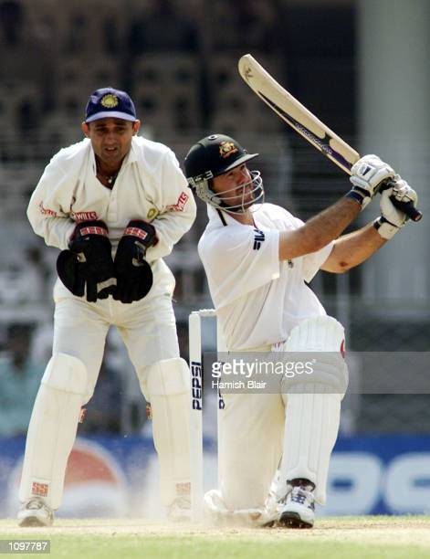 Ricky Ponting of Australia hits a six, during day three of the three day tour match between India A and Australia played at Vidarbha Cricket...