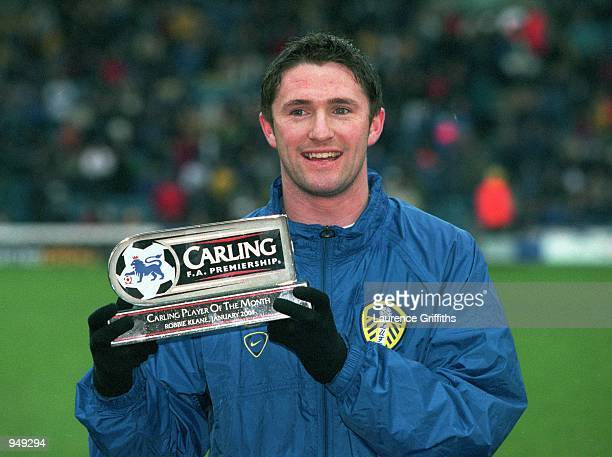 Robbie Keane of Leeds United receives the Carling Player of the Month award before the FA Carling Premiership match against Derby County played at...