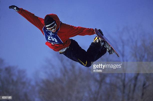 Ross Powers jumps in the Snowboard Superpipe Event during the ESPN Winter X Games in Mt. Snow, Vermont.Mandatory Credit: Al Bello /Allsport