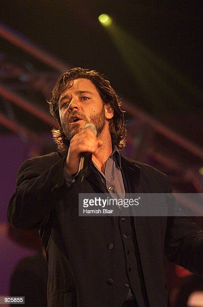Russell Crowe performs with his band Thirty Odd Foot of Grunt at the Allan Border Medal Presentation held at Crown Casino in Melbourne Australia X...