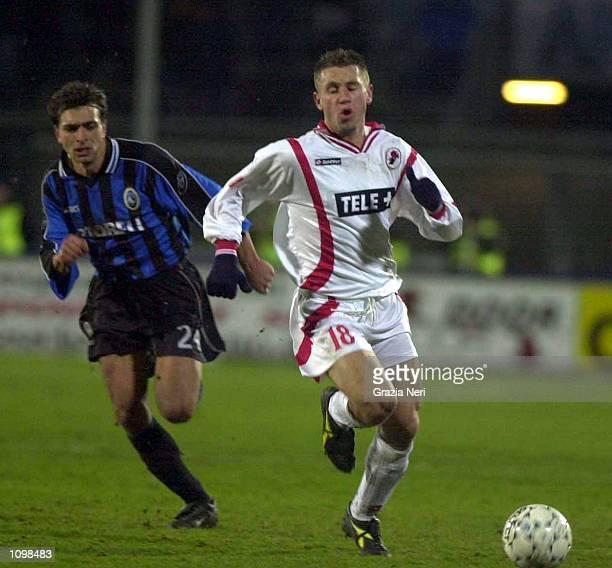 Sebastiano Siviglia of Atalanta and Antonio Cassano of Bari in action during a Serie A 20th Round League match between Atalanta and Bari played at...