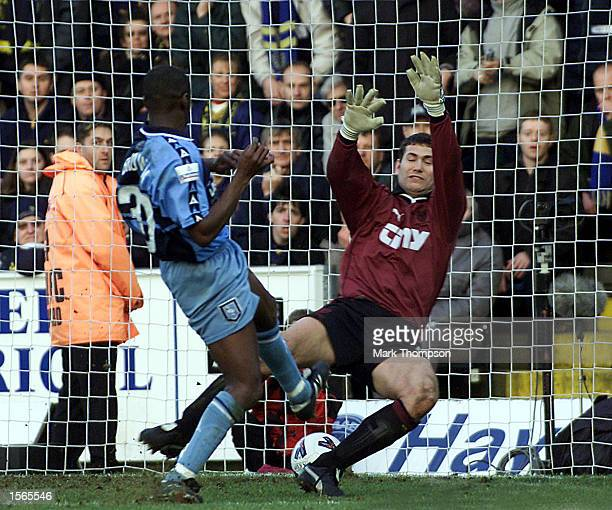 Steve Brown of Wycombe Wanderers scores the 2nd goal during the AXA FA Cup match between Wycombe Wanderers and Wimbledon at Adams Park High Wycombe...