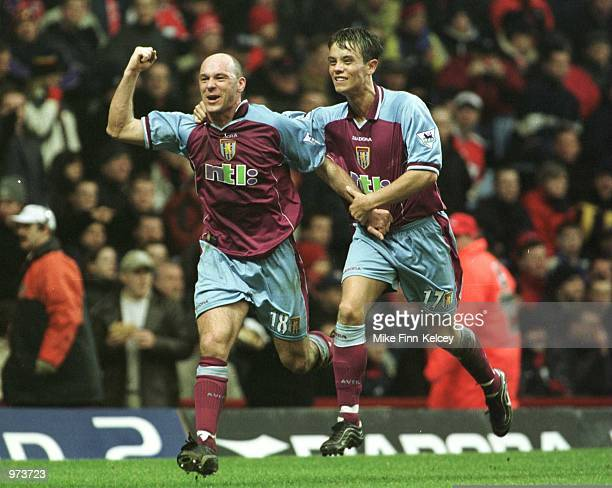 Steve Stone of Villa celebrates scoring with team mate Lee Hendrie during the match between Aston Villa and Middlesbrough in the FA Carling...