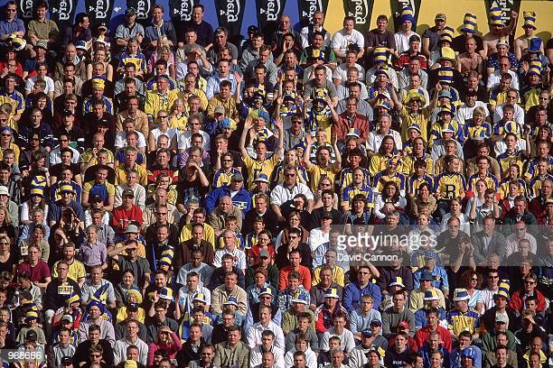 Sweden fans cheer their team on during the FIFA 2002 World Cup Qualifier against Slovakia played at the Rasunda Stadion in Stockholm, Sweden. Sweden...