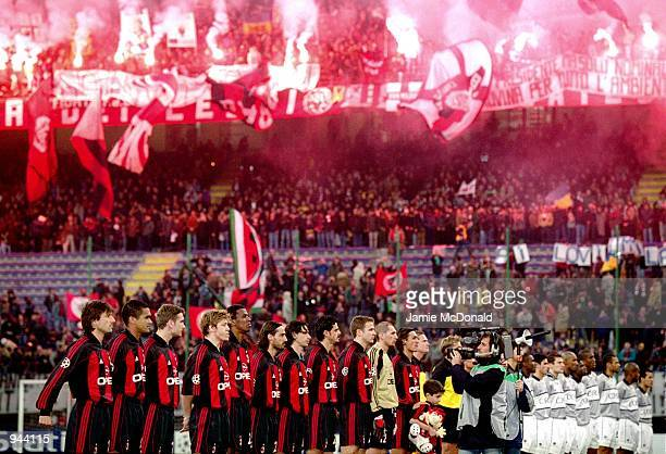 The two teams lineup before the UEFA Champions League Group B match between AC Milan and Paris St Germain played at the San Siro in Milan Italy The...