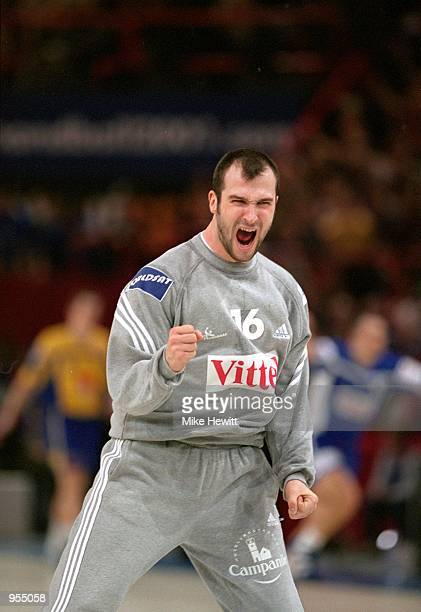 Thierry Omeyer of France celebrates victory after the World Handball Championship final match against Sweden played in Paris France France won the...