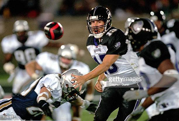 Tim Lester of the Chicago Enforcers pitches out the ball during the game against the Los Angeles Xtreme at the LA Coliseum in Los Angeles California...