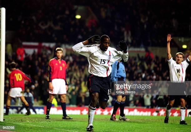 Ugo Ehiogu celebrates scoring England's third goal during the International Friendly match against Spain played at Villa Park in Birmingham England...