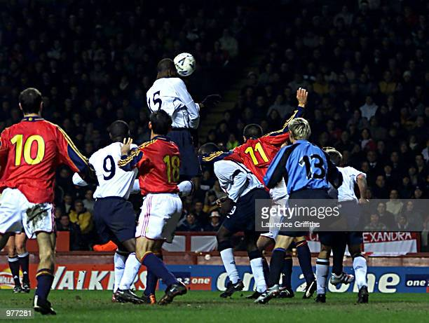 Ugo Ehiogu of England rises to head home the third goal for England during the England v Spain International Friendly match at Villa Park Birmingham...