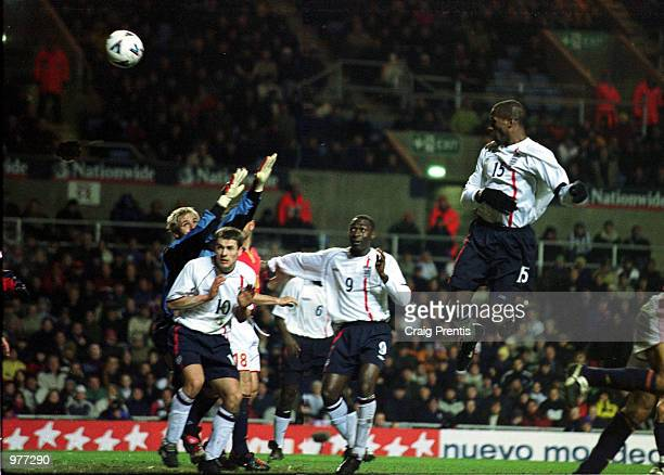 Ugo Ehiogu of England scores the third goal for England during the England v Spain International Friendly match at Villa Park Birmingham Mandatory...