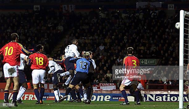 Ugo Ehiogu rises to head home the third goal for England during the England v Spain International Friendly match at Villa Park Birmingham DIGITAL...