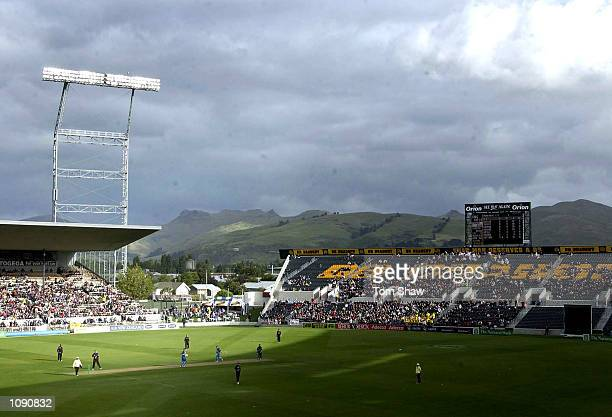 A general view of the ground during the New Zealand v England 1st One Day International at the Jade Stadium Christchurch New Zealand DIGITAL IMAGE...