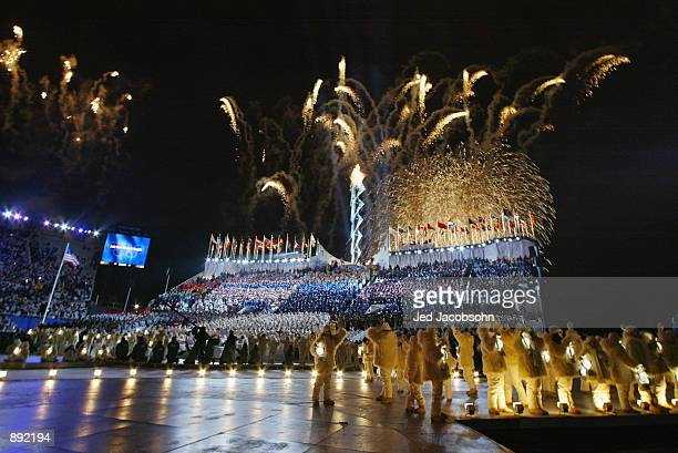 A general view of the torch during the Opening Ceremony of the Salt Lake City Winter Olympic Games at the RiceEccles Olympic Stadium in Salt Lake...