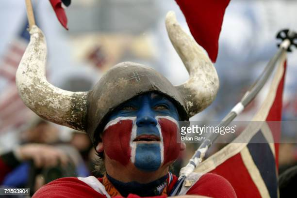 A Norway fan during the Men's 4x75km Biathlon Relay at Soldier Hollow in Heber City during the Salt Lake City Winter Olympic Games in Utah DIGITAL...