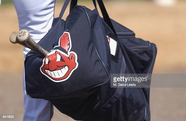 A picture of the Cleveland Indians logo printed on a bag during the spring training game between the Minnesota Twins and the Cleveland Indians at...