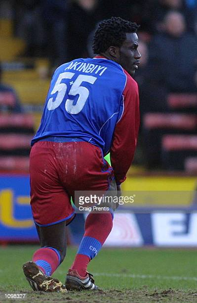 Ade Akinbiyi of Crystal Palace picks himself up after another missed oppotunity against Sheffield United during the Nationwide League Division One...